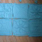 Mavi-Krem Nakışlı Bebek Battaniyesi